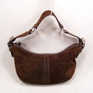 Women's Bags - Coach Small Brown Suede Hobo/Tote